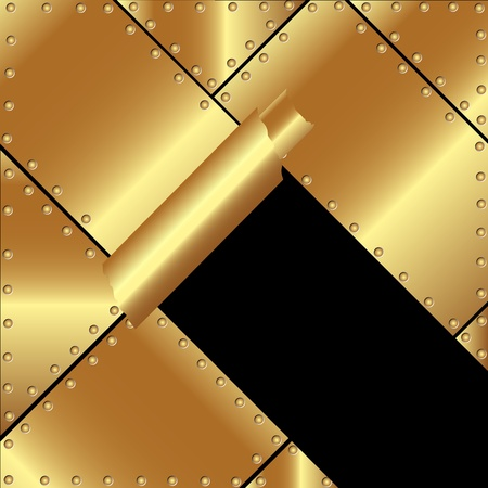 Metallic gold background with a broken metal for your design Stock Vector - 19241342