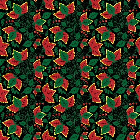 russian culture: Seamless floral pattern on a black background for your design