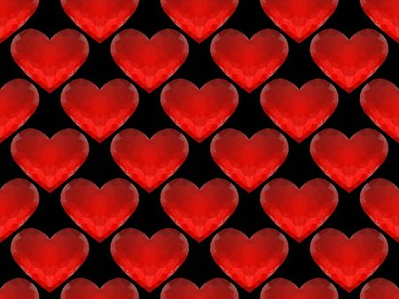 glitter hearts: Seamless pattern of red glass hearts on a black background for your design Illustration