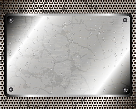 rivet: Background with a metal plate riveted grid and drops of water