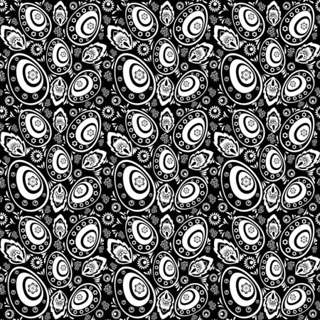 Seamless monochrome pattern with Easter eggs and floral ornaments Vector
