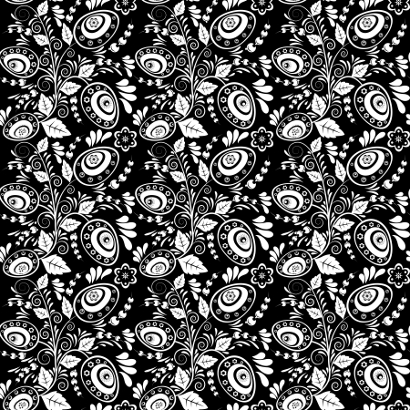 Seamless monochrome pattern with Easter eggs and floral ornaments Stock Vector - 19241381