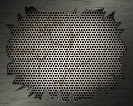 Metal background with grill and torn metal for your design Vector