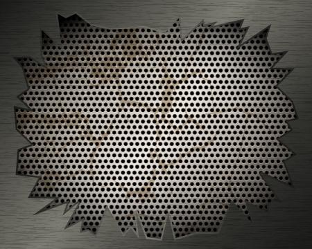 Metall Hintergrund mit Grill und zerrissenen Metall für Ihr Design Standard-Bild - 19241375
