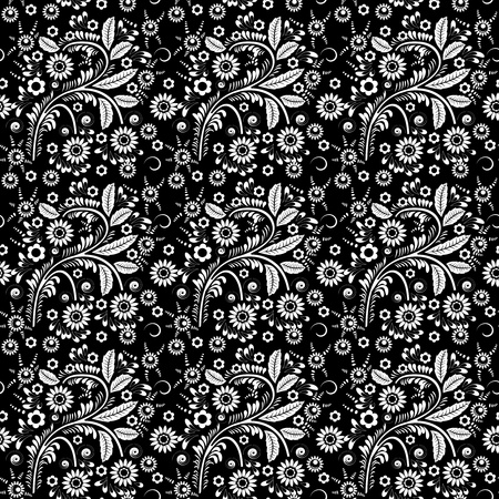 Seamless monochrome floral pattern for your design Vector