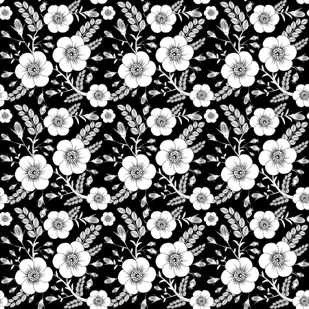 Seamless monochrome pattern with wild roses for your design Vector