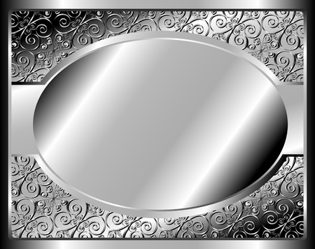 Metal frame with pattern and place for text Vector