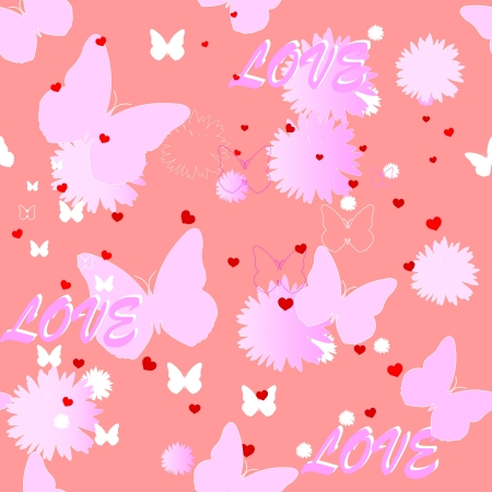 Seamless pink background on the topic of love for your design Vector