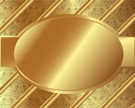 Gold frame with pattern and place for text Vector