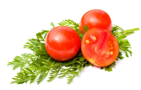 mouthwatering: Mature mouth-watering tomatoes close-up on white background Stock Photo