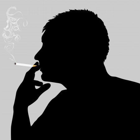 smoking cigarette: Silhouette of a smoker with a smoking cigarette
