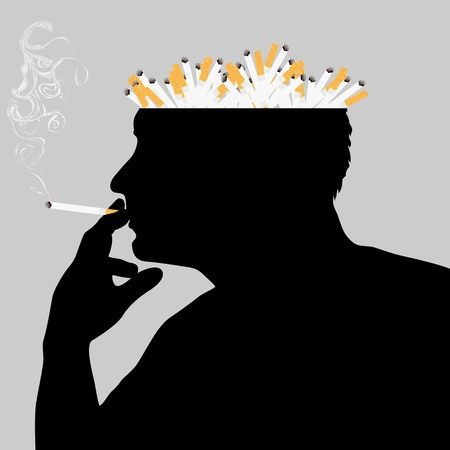 depending: Illustration on the theme of the cigarette depending
