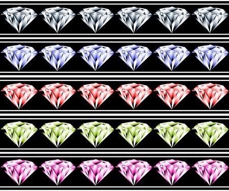 diamond clip art: Set of seamless borders with diamonds on black background