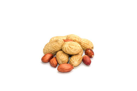 The fruits of peanuts close-up on white background photo
