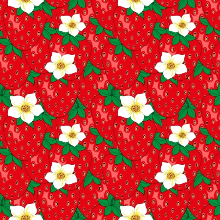 Seamless pattern with strawberry leaves and flowers Vector