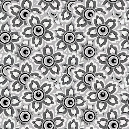 textile image: Seamless monochrome background of flowers for your design