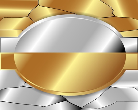 Abstract metal frame of gold and silver metal Vector