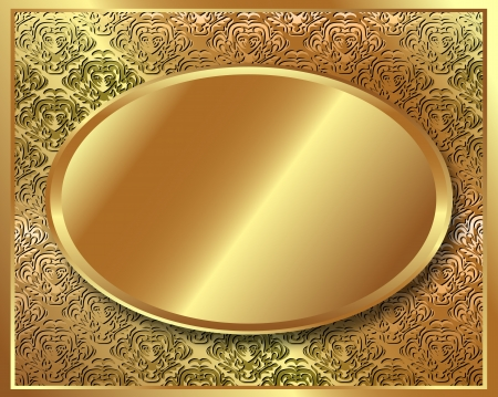 brass plate: Delicate gold frame with pattern and with an oval in the center of the plate