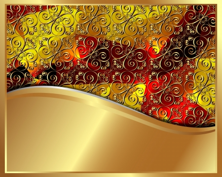 Gold frame with pattern and place for text for your design Vector