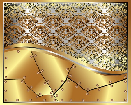 bronze texture: Gold frame with pattern and place for text for your design