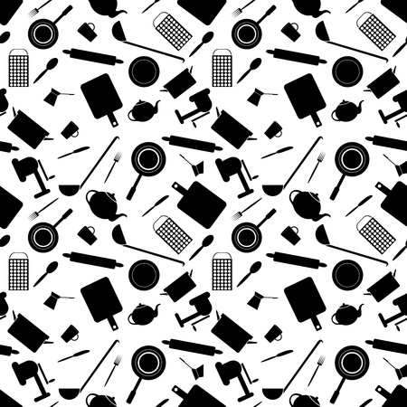 Seamless pattern of kitchen tools on a white background Vector