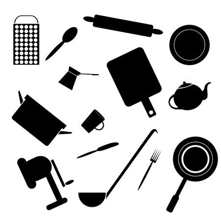 steel pan: Siluetas de los accesorios de cocina sobre un fondo blanco Vectores