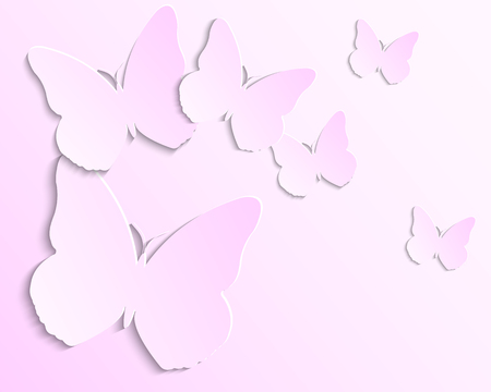 Pink background with paper butterflies for your design Vector