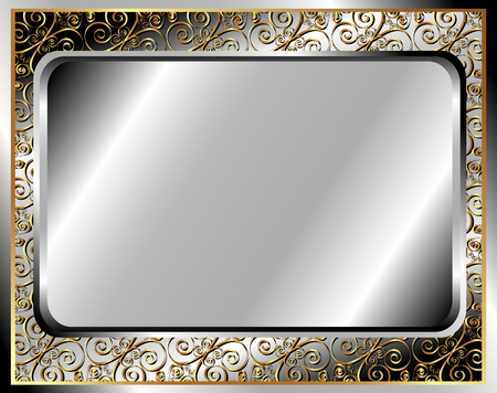 brass plate: Metal frame with golden ornament for your design