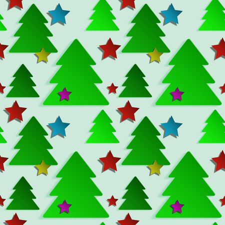 trees illustration: Christmas seamless background with green trees and colored stars for your design Illustration