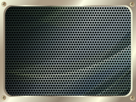 metal grate: Metal frame with grill and screws for your design