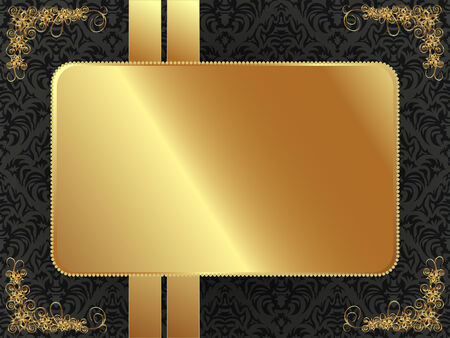 gothic revival style: Gold frame with a dark pattern and plant elements Illustration