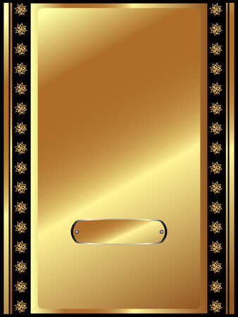 Gold frame with plate and plant elements for your design Vector