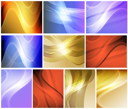 Set of abstract wavy colorful backgrounds for your design Illustration