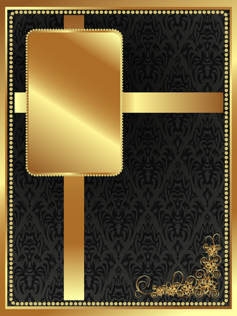 metal sheet: Festive dark background with gold plate and the pattern Illustration