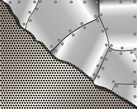 Metallic background with grid and steel plates for your design Vector