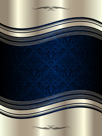 Silber wellenförmigen Rahmen mit dekorativen Elementen und Mustern Standard-Bild - 25316170