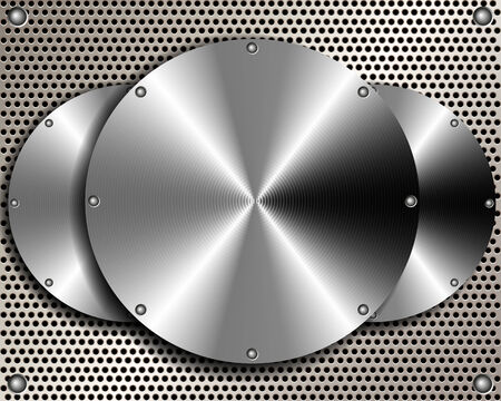 Background of steel disks on a metal grid for your design Vector