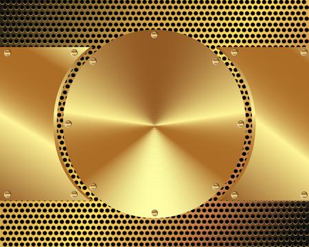 metal sheet: Background of steel gold disks on a metal grid for your design