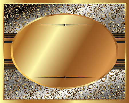 brass plate: Delicate gold frame with oval plate Illustration