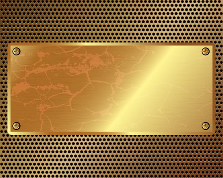 perforated surface: Metal grille with a gold plate in the center
