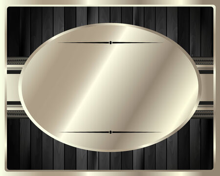 The metal frame on a dark wooden for your design Vector