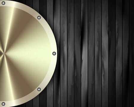 The metal frame on a dark wooden background for your design Vector
