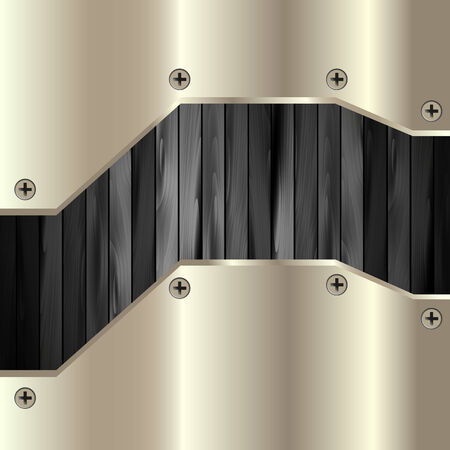 black wood texture: The metal frame on a dark wooden background for your design