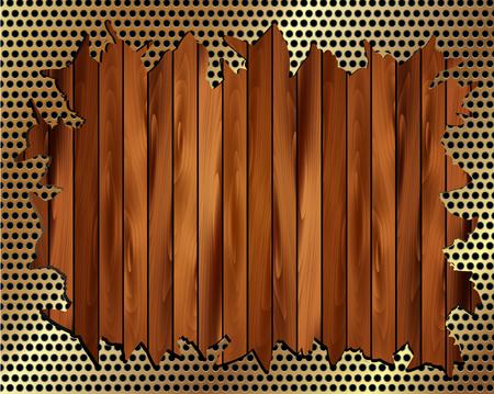 torn metal: Torn metal grill on wooden background for your design Illustration