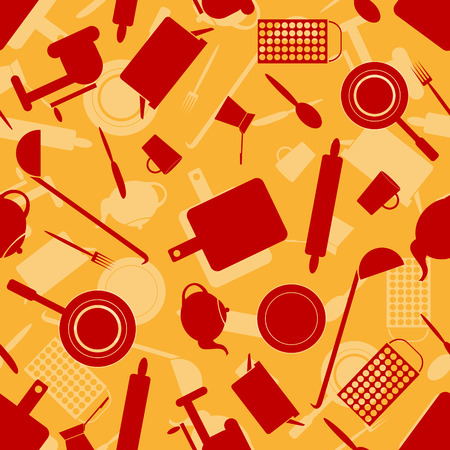 Seamless pattern with kitchen utensils for your design