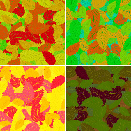Set of seamless pattern with colorful leaves for your design