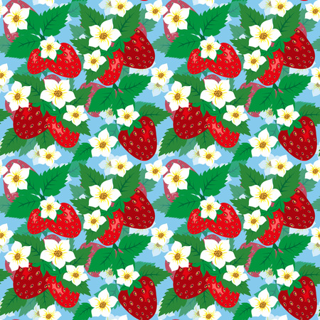 Seamless pattern with ripe strawberries and flowers on a blue background