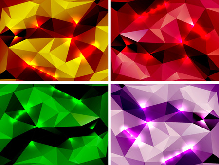 Set of abstract multicolored polygonal backgrounds for your design