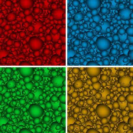 Set of seamless backgrounds with multicolored hearts bulky for your design Illustration