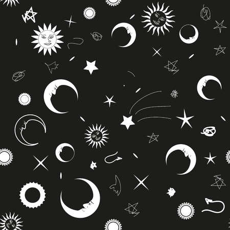 Seamless monochrome background with the night sky for your design